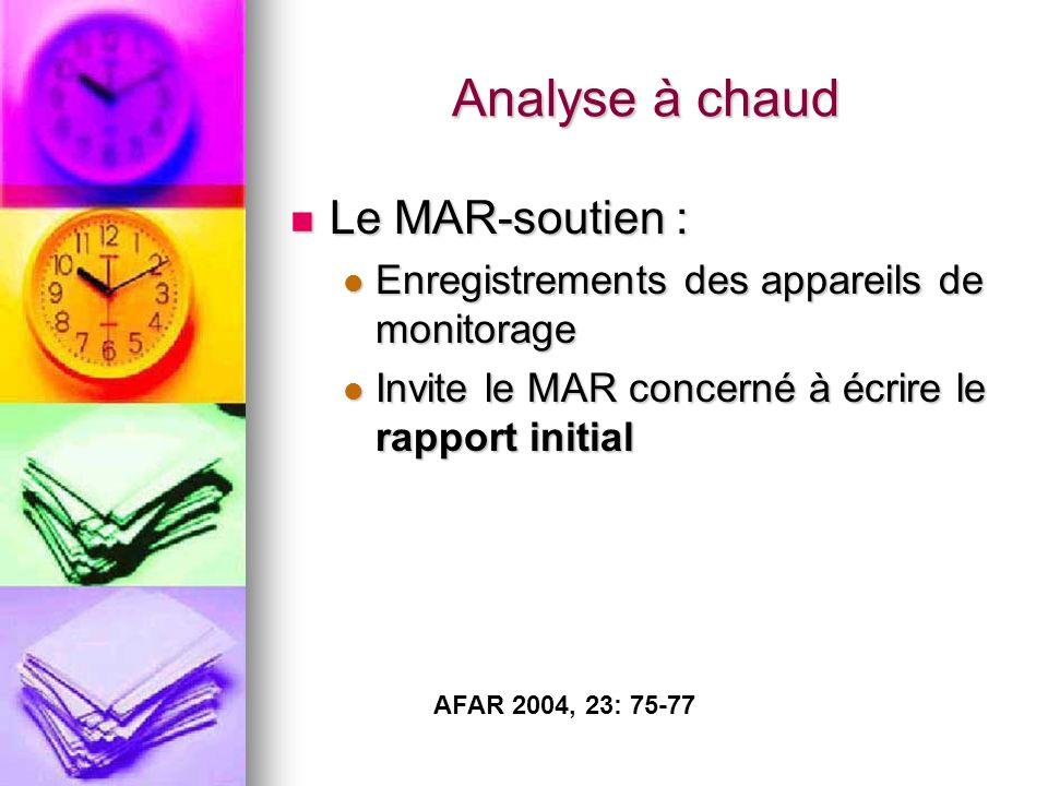 Analyse à chaud Le MAR-soutien : Le MAR-soutien : Enregistrements des appareils de monitorage Enregistrements des appareils de monitorage Invite le MAR concerné à écrire le rapport initial Invite le MAR concerné à écrire le rapport initial AFAR 2004, 23: 75-77