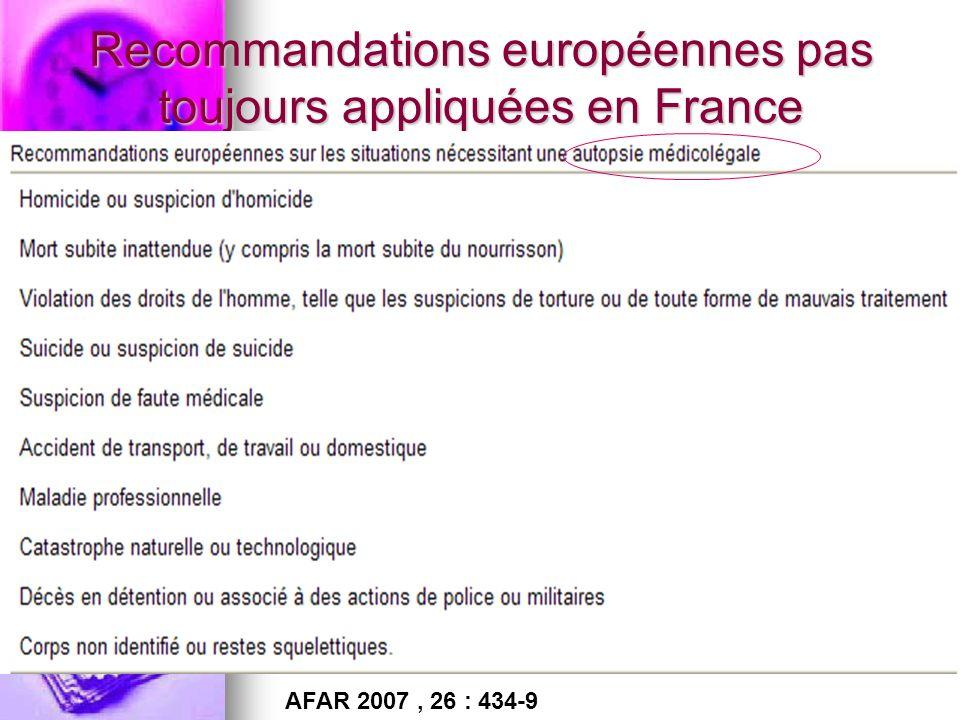 Recommandations européennes pas toujours appliquées en France AFAR 2007, 26 : 434-9