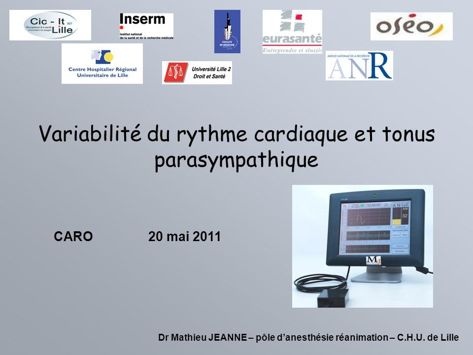 Variabilité du rythme cardiaque et tonus parasympathique Dr Mathieu JEANNE – pôle danesthésie réanimation – C.H.U. de Lille CARO20 mai 2011