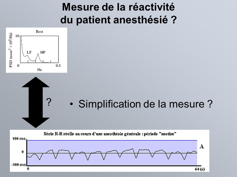 Mesure de la réactivité du patient anesthésié ? Simplification de la mesure ? ?