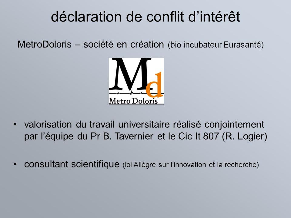 déclaration de conflit dintérêt MetroDoloris – société en création (bio incubateur Eurasanté) valorisation du travail universitaire réalisé conjointem