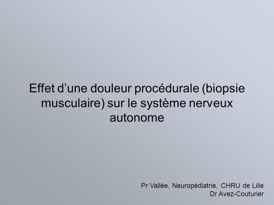 Effet dune douleur procédurale (biopsie musculaire) sur le système nerveux autonome Pr Vallée, Neuropédiatrie, CHRU de Lille Dr Avez-Couturier