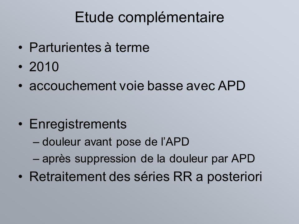 Etude complémentaire Parturientes à terme 2010 accouchement voie basse avec APD Enregistrements –douleur avant pose de lAPD –après suppression de la d