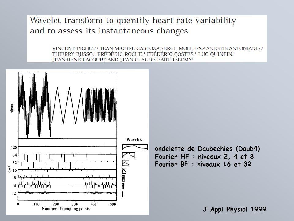 ondelette de Daubechies (Daub4) Fourier HF : niveaux 2, 4 et 8 Fourier BF : niveaux 16 et 32 J Appl Physiol 1999
