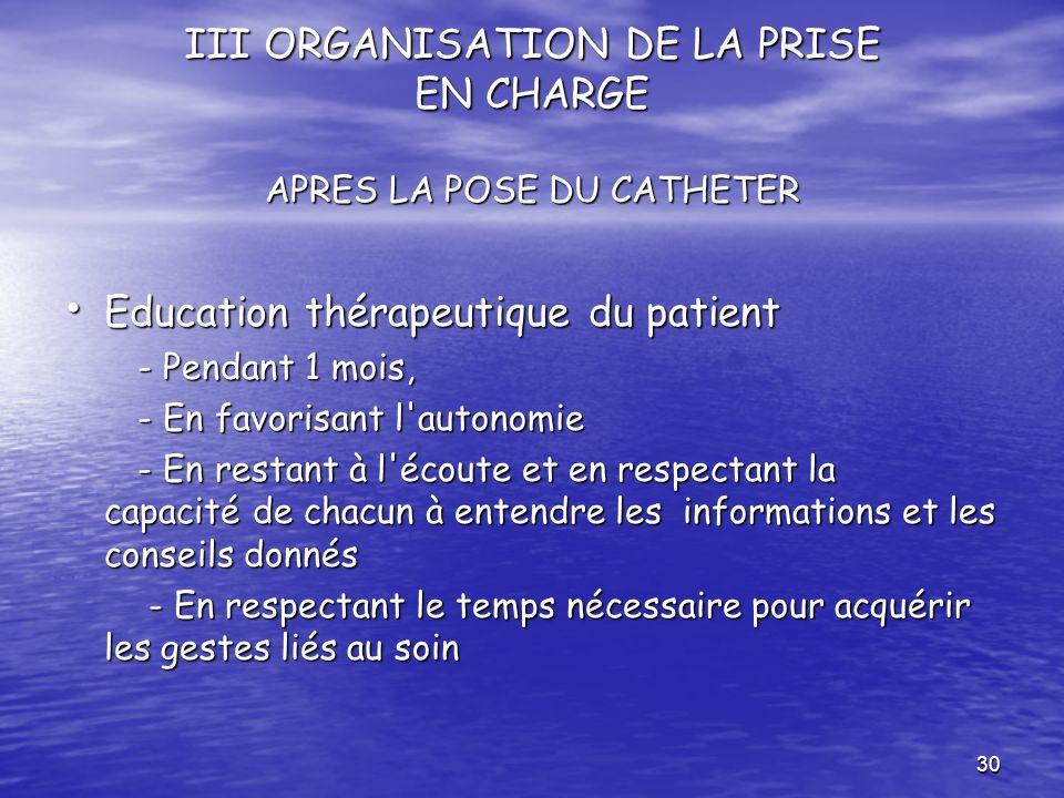 30 III ORGANISATION DE LA PRISE EN CHARGE APRES LA POSE DU CATHETER Education thérapeutique du patient Education thérapeutique du patient - Pendant 1