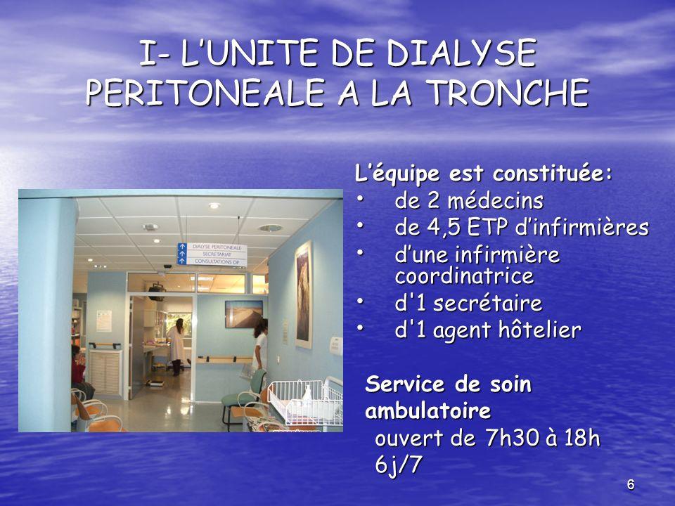 6 I- LUNITE DE DIALYSE PERITONEALE A LA TRONCHE Léquipe est constituée: de 2 médecins de 2 médecins de 4,5 ETP dinfirmières de 4,5 ETP dinfirmières du