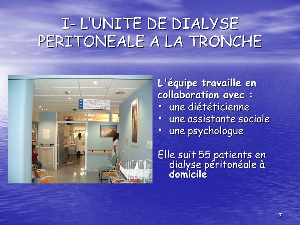 7 I- LUNITE DE DIALYSE PERITONEALE A LA TRONCHE L'équipe travaille en collaboration avec : une diététicienne une diététicienne une assistante sociale