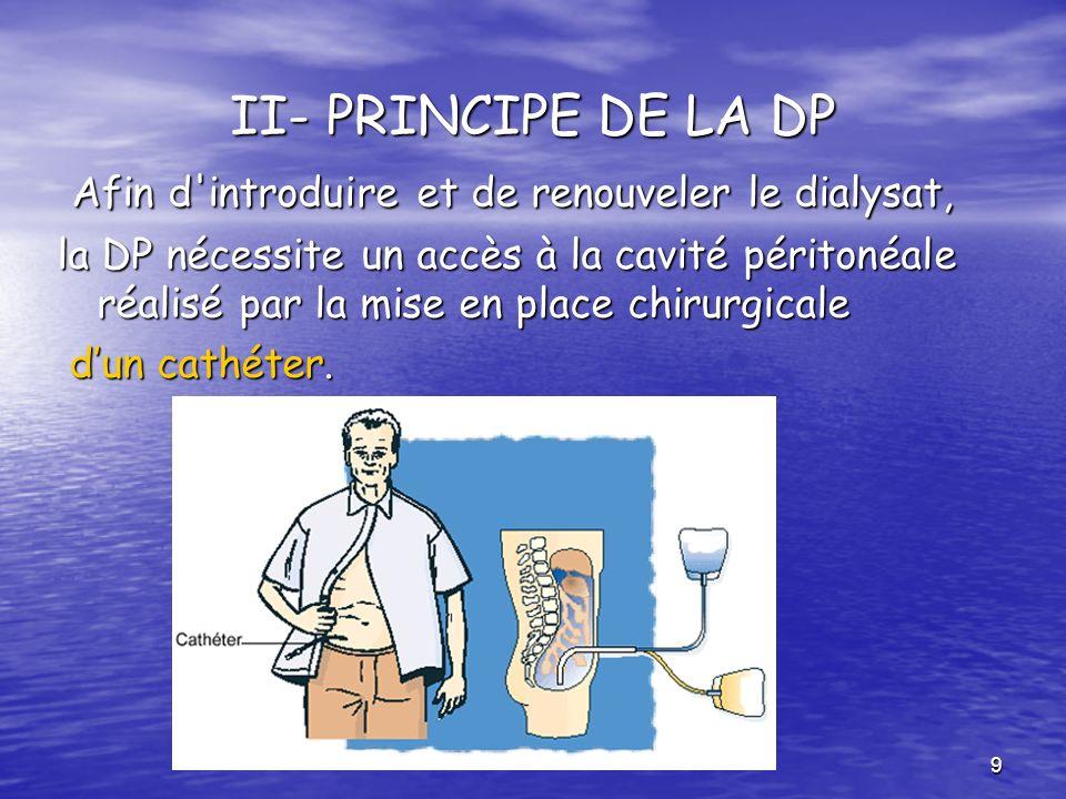 9 II- PRINCIPE DE LA DP Afin d'introduire et de renouveler le dialysat, Afin d'introduire et de renouveler le dialysat, la DP nécessite un accès à la