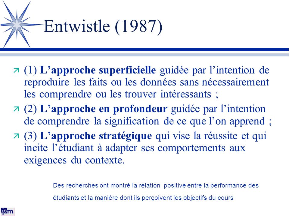 Entwistle (1987) (1) Lapproche superficielle guidée par lintention de reproduire les faits ou les données sans nécessairement les comprendre ou les tr