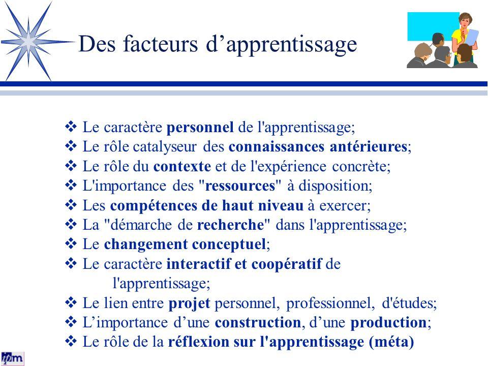 Des facteurs dapprentissage Le caractère personnel de l'apprentissage; Le rôle catalyseur des connaissances antérieures; Le rôle du contexte et de l'e