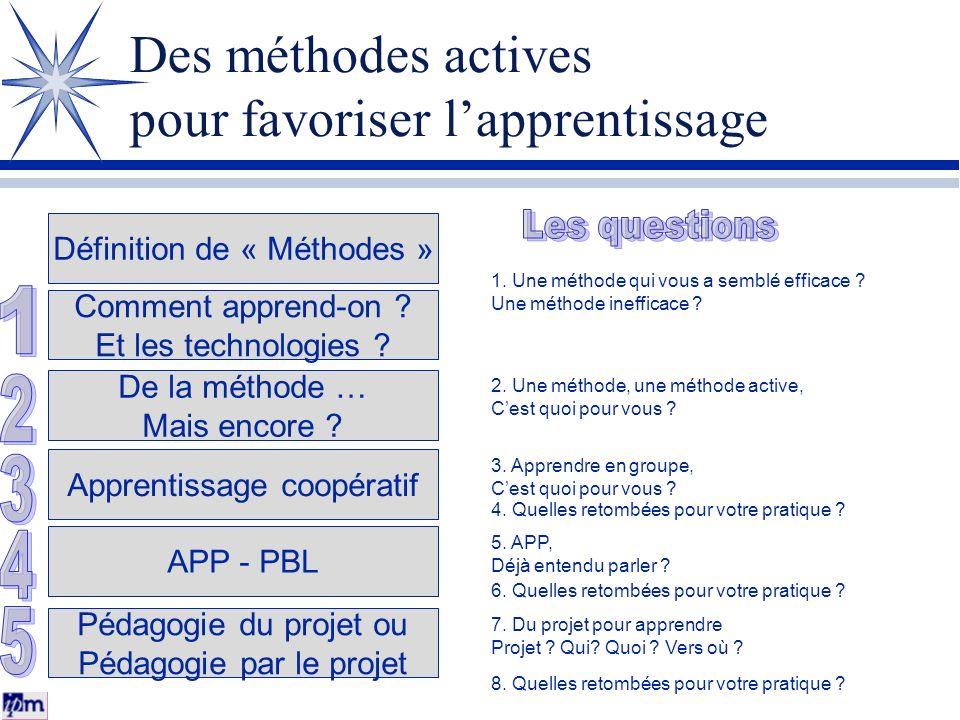 Des méthodes actives pour favoriser lapprentissage Définition de « Méthodes » Comment apprend-on ? Et les technologies ? De la méthode … Mais encore ?