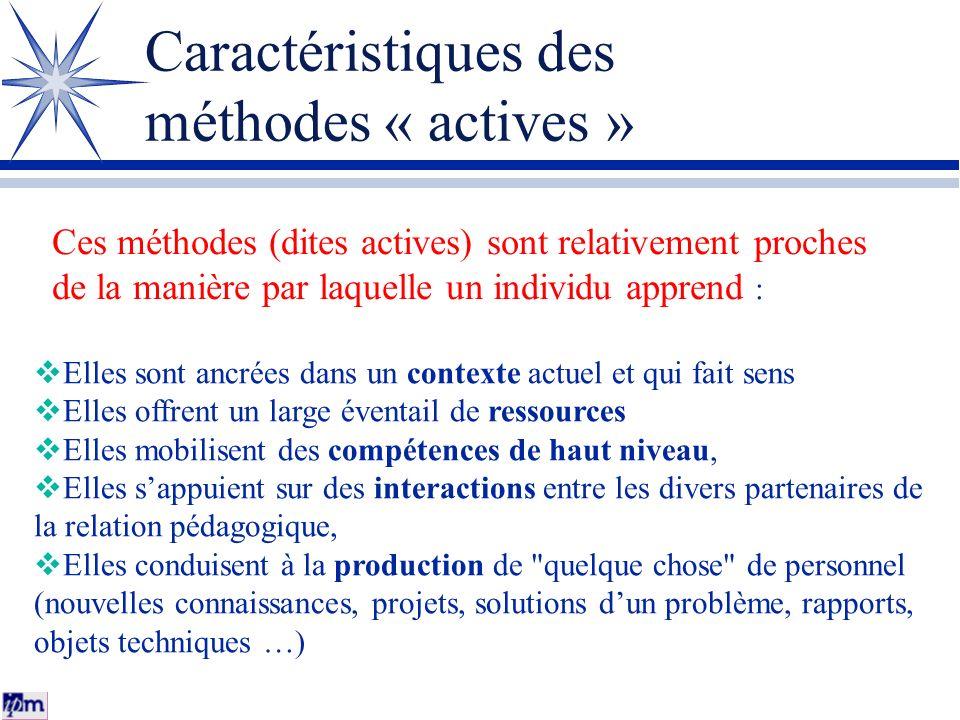 Caractéristiques des méthodes « actives » Elles sont ancrées dans un contexte actuel et qui fait sens Elles offrent un large éventail de ressources El