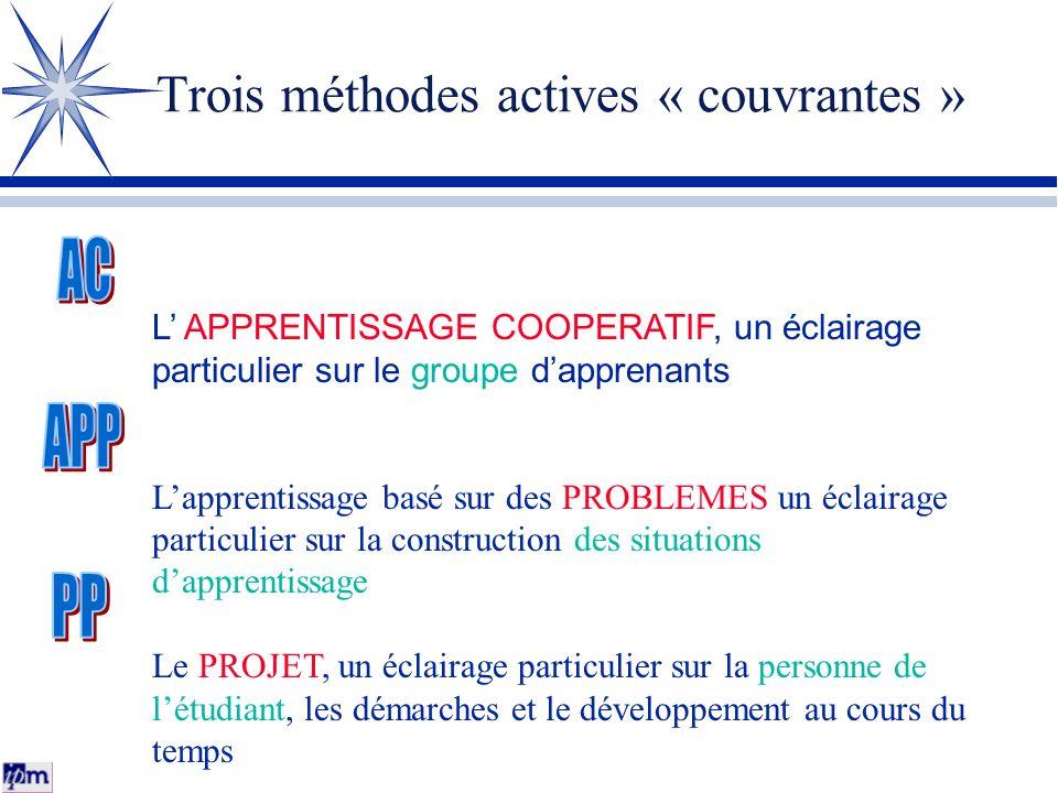 Trois méthodes actives « couvrantes » L APPRENTISSAGE COOPERATIF, un éclairage particulier sur le groupe dapprenants Lapprentissage basé sur des PROBL