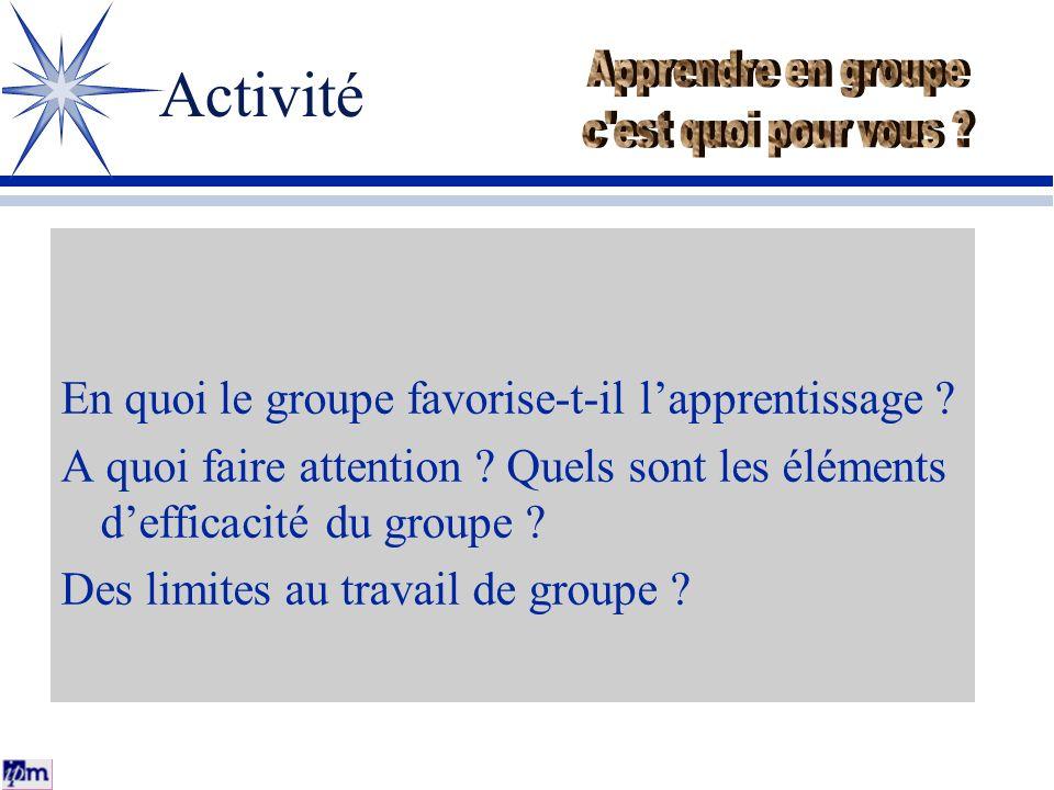Activité En quoi le groupe favorise-t-il lapprentissage ? A quoi faire attention ? Quels sont les éléments defficacité du groupe ? Des limites au trav