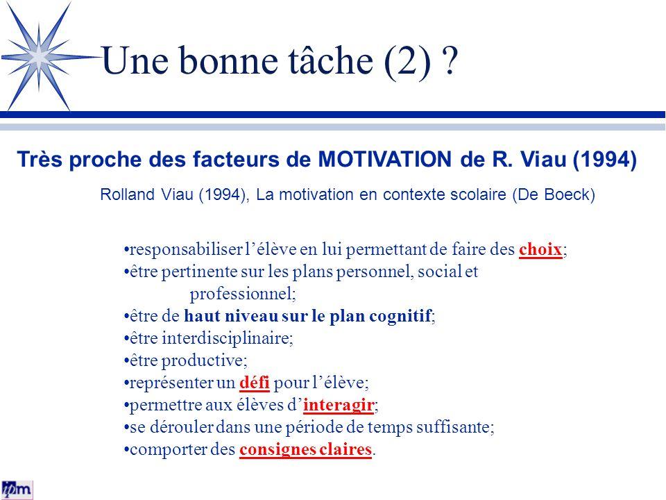 Une bonne tâche (2) ? Très proche des facteurs de MOTIVATION de R. Viau (1994) responsabiliser lélève en lui permettant de faire des choix; être perti