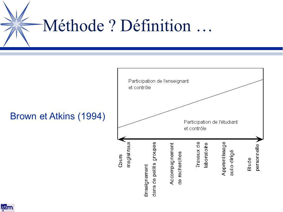 Méthode ? Définition … Brown et Atkins (1994)