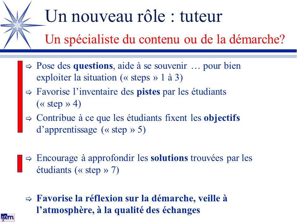 Un nouveau rôle : tuteur Un spécialiste du contenu ou de la démarche? Pose des questions, aide à se souvenir … pour bien exploiter la situation (« ste