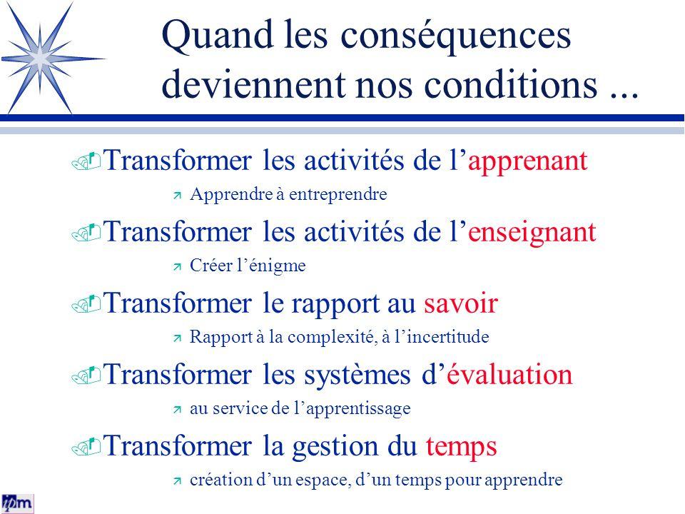 Quand les conséquences deviennent nos conditions... Transformer les activités de lapprenant Apprendre à entreprendre Transformer les activités de lens