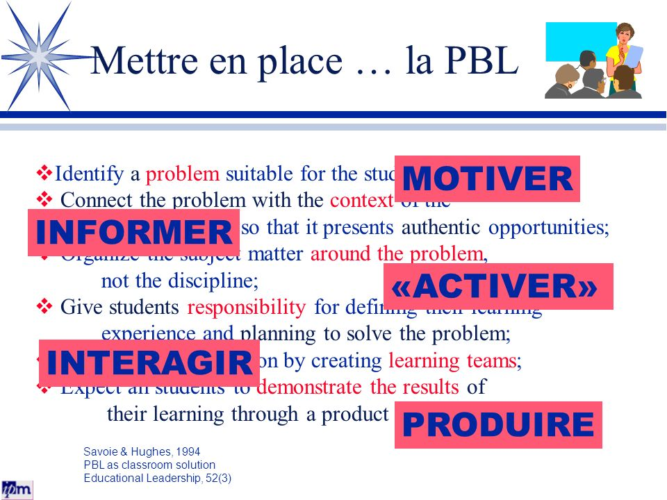 Mettre en place … la PBL Identify a problem suitable for the students; Connect the problem with the context of the students' world so that it presents