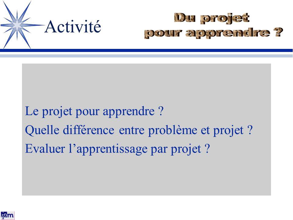 Activité Le projet pour apprendre ? Quelle différence entre problème et projet ? Evaluer lapprentissage par projet ?
