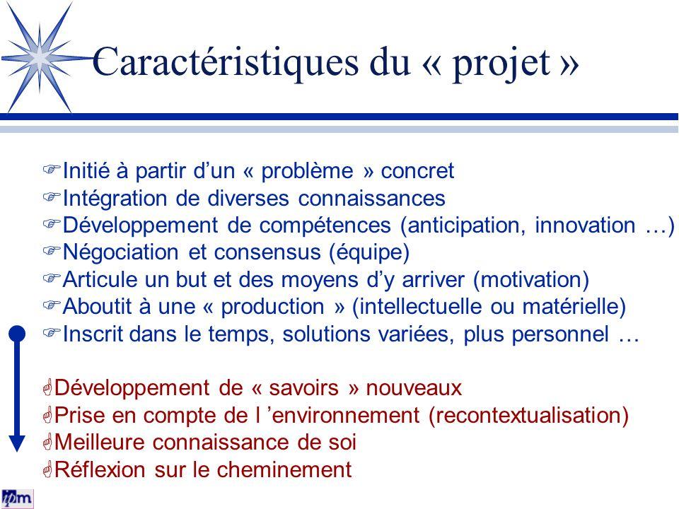 Caractéristiques du « projet » FInitié à partir dun « problème » concret FIntégration de diverses connaissances FDéveloppement de compétences (anticip