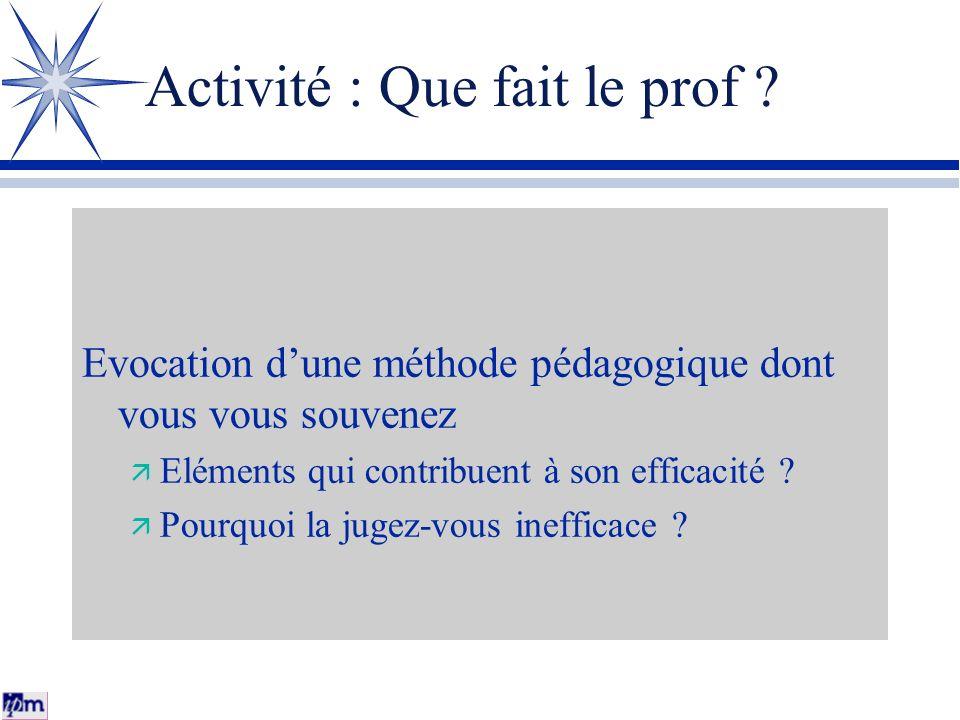 Activité : Que fait le prof ? Evocation dune méthode pédagogique dont vous vous souvenez Eléments qui contribuent à son efficacité ? Pourquoi la jugez
