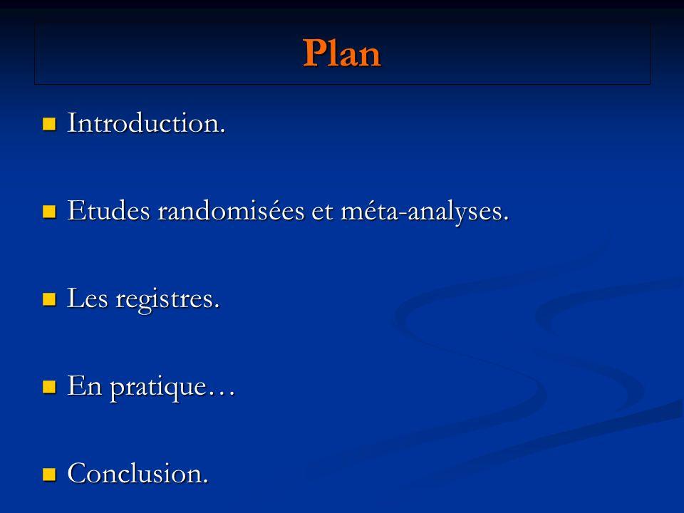 Plan Introduction. Introduction. Etudes randomisées et méta-analyses. Etudes randomisées et méta-analyses. Les registres. Les registres. En pratique…