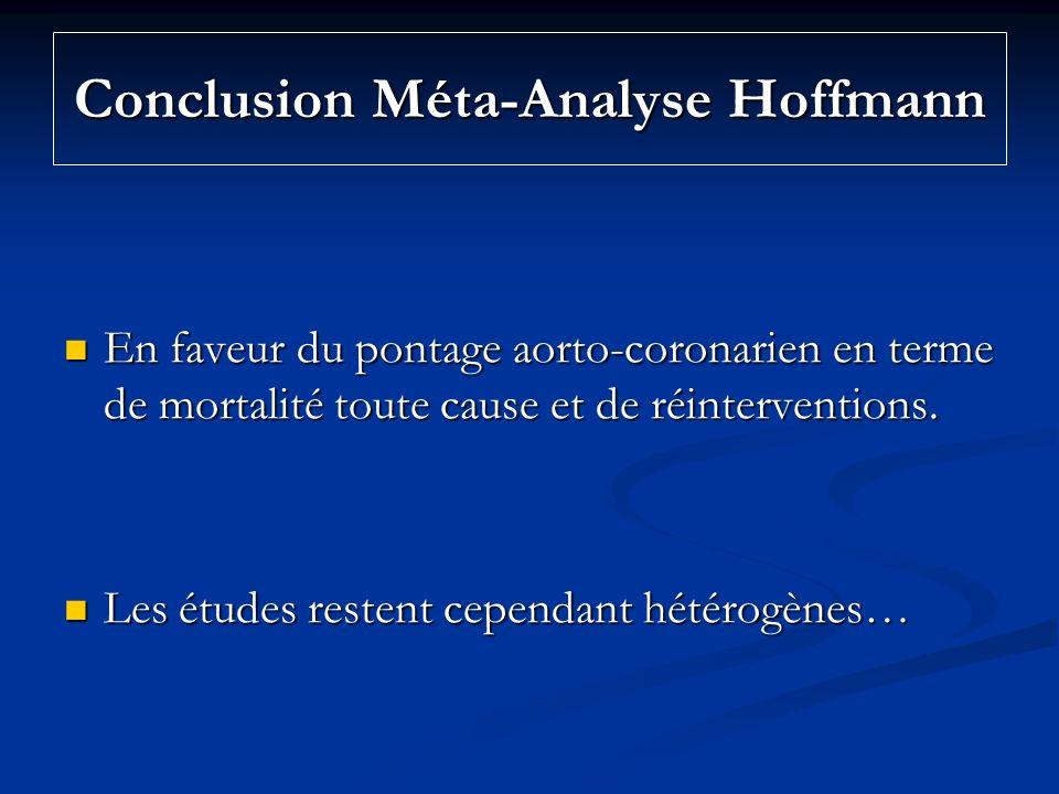 Conclusion Méta-Analyse Hoffmann En faveur du pontage aorto-coronarien en terme de mortalité toute cause et de réinterventions. En faveur du pontage a