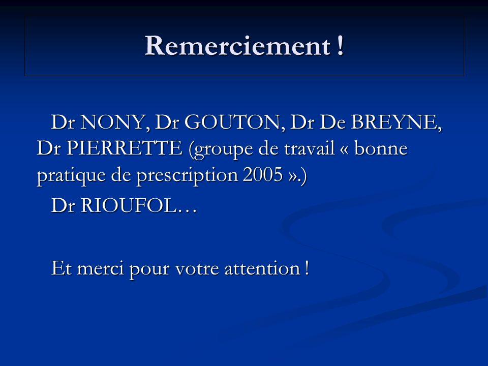 Remerciement ! Dr NONY, Dr GOUTON, Dr De BREYNE, Dr PIERRETTE (groupe de travail « bonne pratique de prescription 2005 ».) Dr NONY, Dr GOUTON, Dr De B