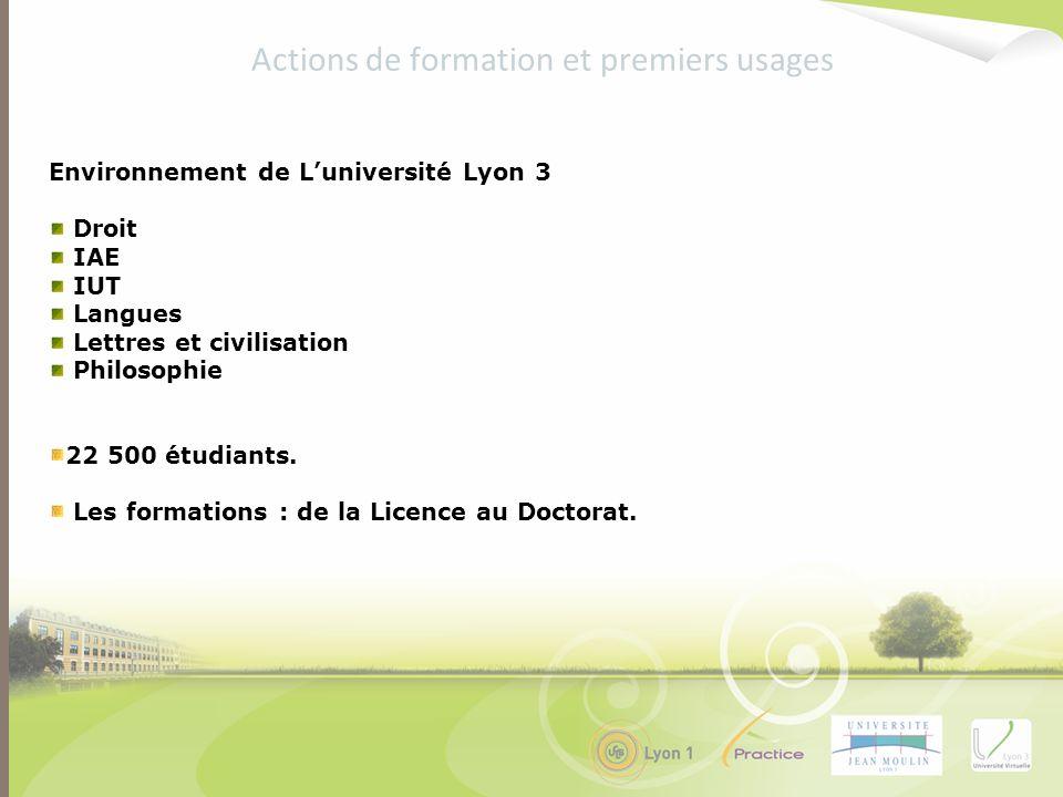 Environnement de Luniversité Lyon 3 Droit IAE IUT Langues Lettres et civilisation Philosophie 22 500 étudiants. Les formations : de la Licence au Doct