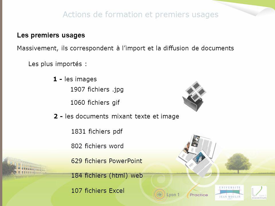Massivement, ils correspondent à limport et la diffusion de documents Les plus importés : Actions de formation et premiers usages Les premiers usages