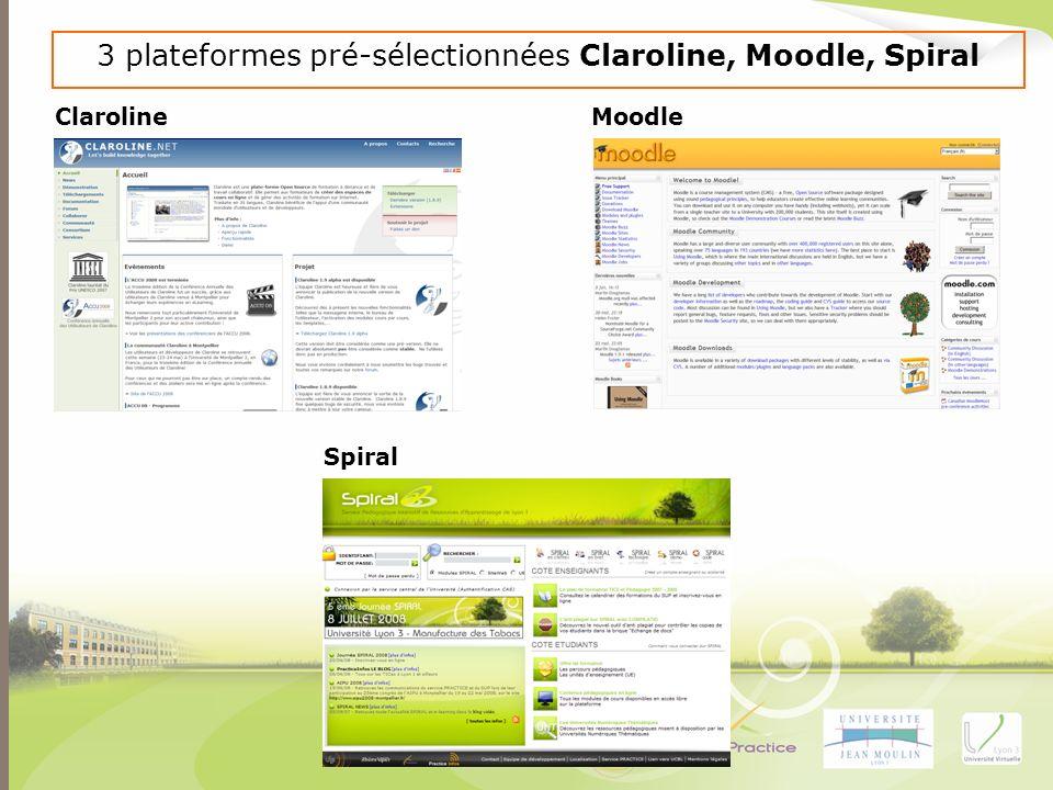 3 plateformes pré-sélectionnées Claroline, Moodle, Spiral Claroline Moodle Spiral
