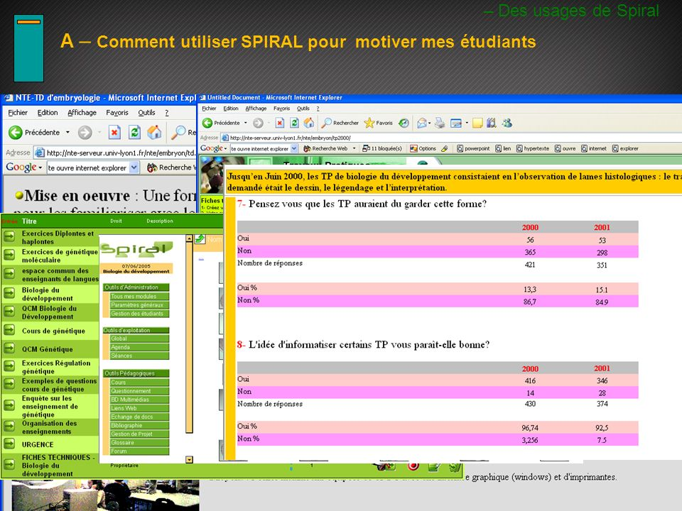 A- Utiliser Spiral pour motiver les etudiants – Des usages de Spiral A – Comment utiliser SPIRAL pour motiver mes étudiants