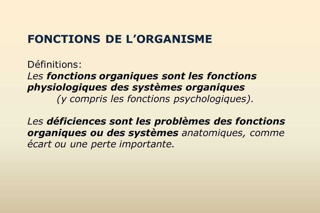 FONCTIONS DE LORGANISME Définitions: Les fonctions organiques sont les fonctions physiologiques des systèmes organiques (y compris les fonctions psych
