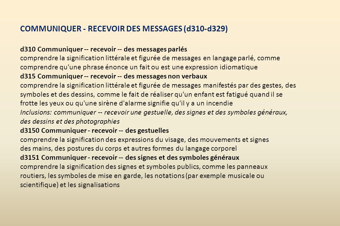 COMMUNIQUER - RECEVOIR DES MESSAGES (d310-d329) d310 Communiquer -- recevoir -- des messages parlés comprendre la signification littérale et figurée d