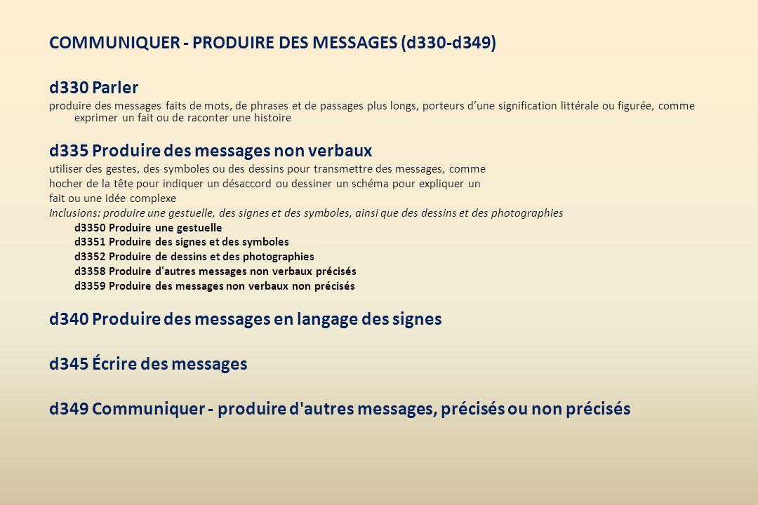 COMMUNIQUER - PRODUIRE DES MESSAGES (d330-d349) d330 Parler produire des messages faits de mots, de phrases et de passages plus longs, porteurs dune s