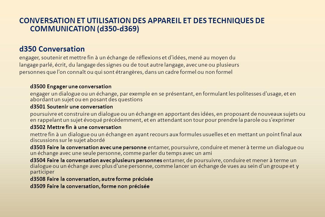 CONVERSATION ET UTILISATION DES APPAREIL ET DES TECHNIQUES DE COMMUNICATION (d350-d369) d350 Conversation engager, soutenir et mettre fin à un échange