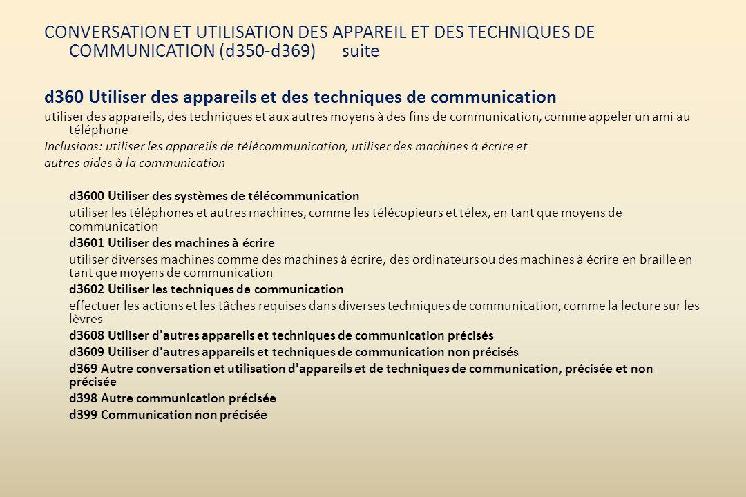 CONVERSATION ET UTILISATION DES APPAREIL ET DES TECHNIQUES DE COMMUNICATION (d350-d369) suite d360 Utiliser des appareils et des techniques de communi