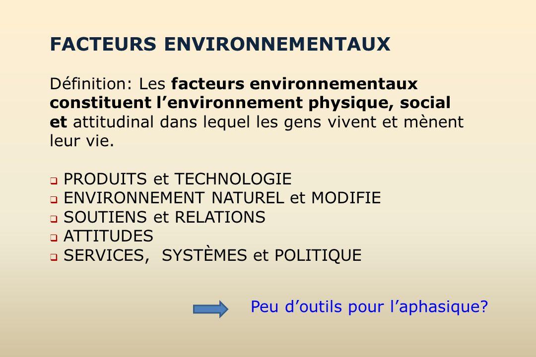 FACTEURS ENVIRONNEMENTAUX Définition: Les facteurs environnementaux constituent lenvironnement physique, social et attitudinal dans lequel les gens vi