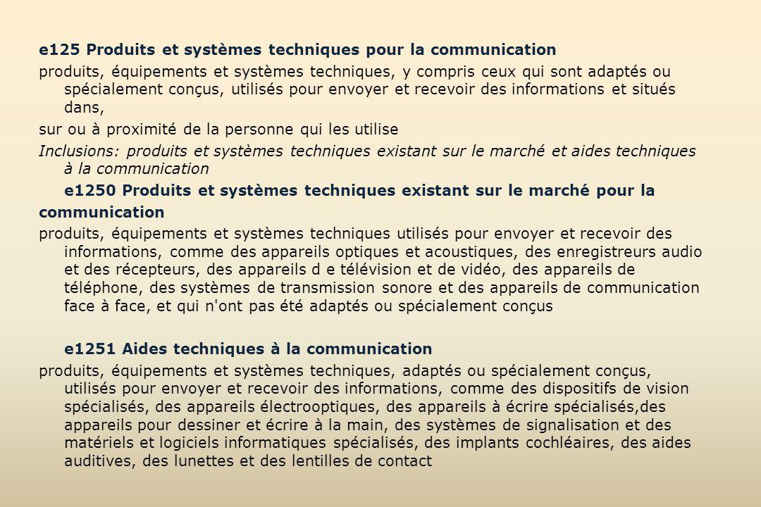 e125 Produits et systèmes techniques pour la communication produits, équipements et systèmes techniques, y compris ceux qui sont adaptés ou spécialeme
