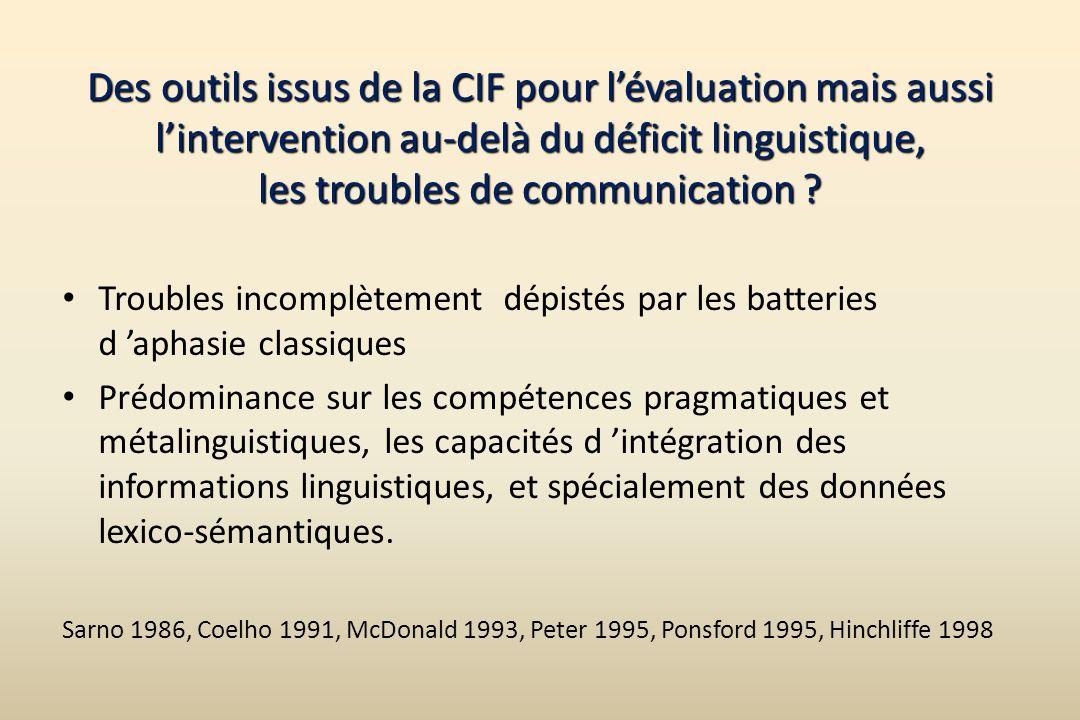 Des outils issus de la CIF pour lévaluation mais aussi lintervention au-delà du déficit linguistique, les troubles de communication ? Troubles incompl