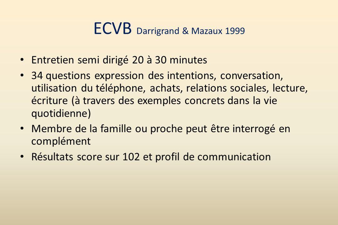 ECVB Darrigrand & Mazaux 1999 Entretien semi dirigé 20 à 30 minutes 34 questions expression des intentions, conversation, utilisation du téléphone, ac