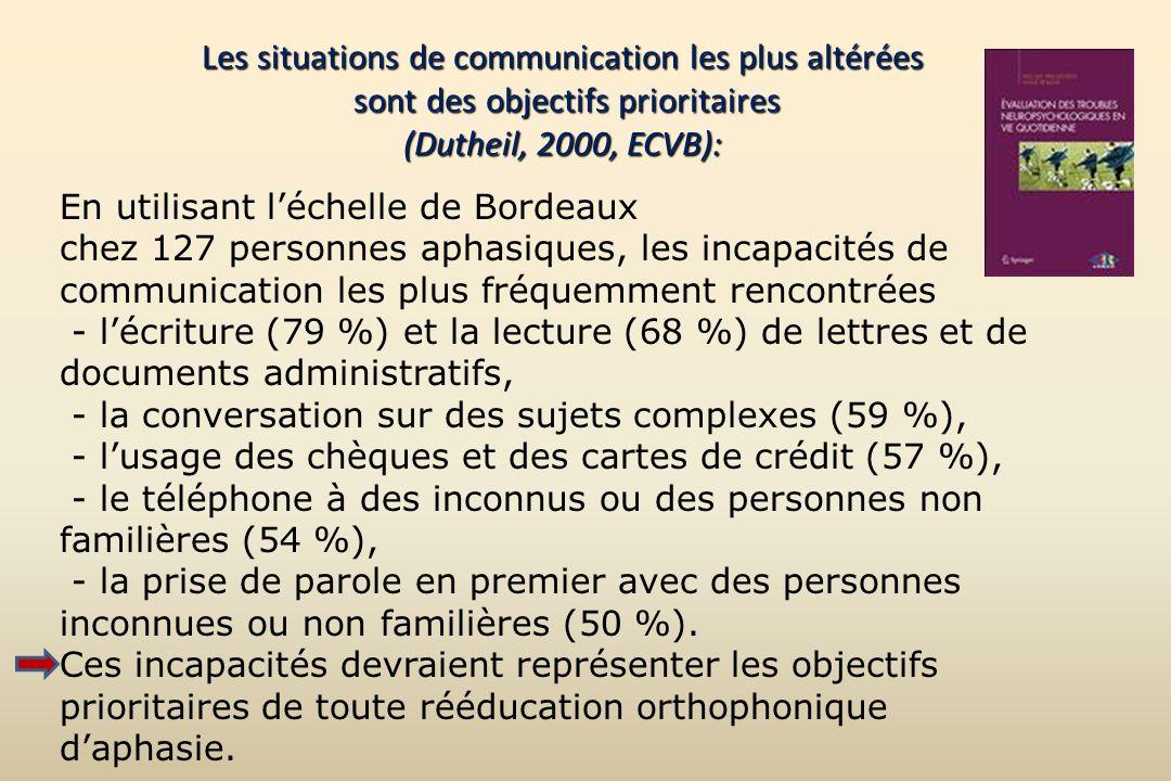 Les situations de communication les plus altérées sont des objectifs prioritaires (Dutheil, 2000, ECVB): En utilisant léchelle de Bordeaux chez 127 pe