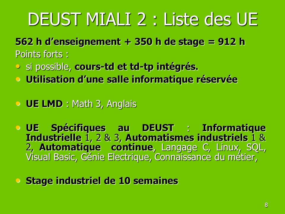 8 DEUST MIALI 2 : Liste des UE 562 h denseignement + 350 h de stage = 912 h Points forts : si possible, cours-td et td-tp intégrés. si possible, cours