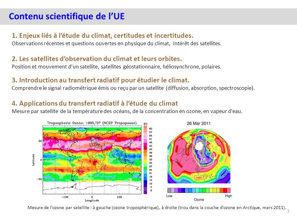 Contenu scientifique de lUE 1. Enjeux liés à létude du climat, certitudes et incertitudes. Observations récentes et questions ouvertes en physique du
