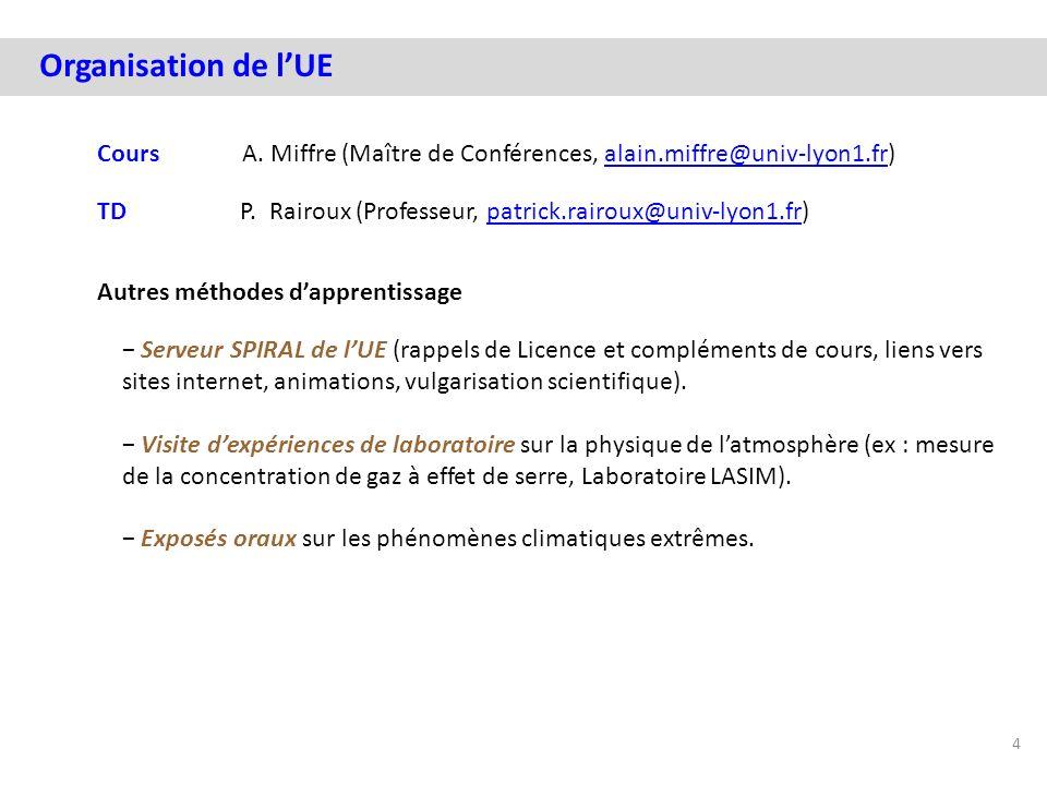 Organisation de lUE Cours A. Miffre (Maître de Conférences, alain.miffre@univ-lyon1.fr)alain.miffre@univ-lyon1.fr TD P. Rairoux (Professeur, patrick.r