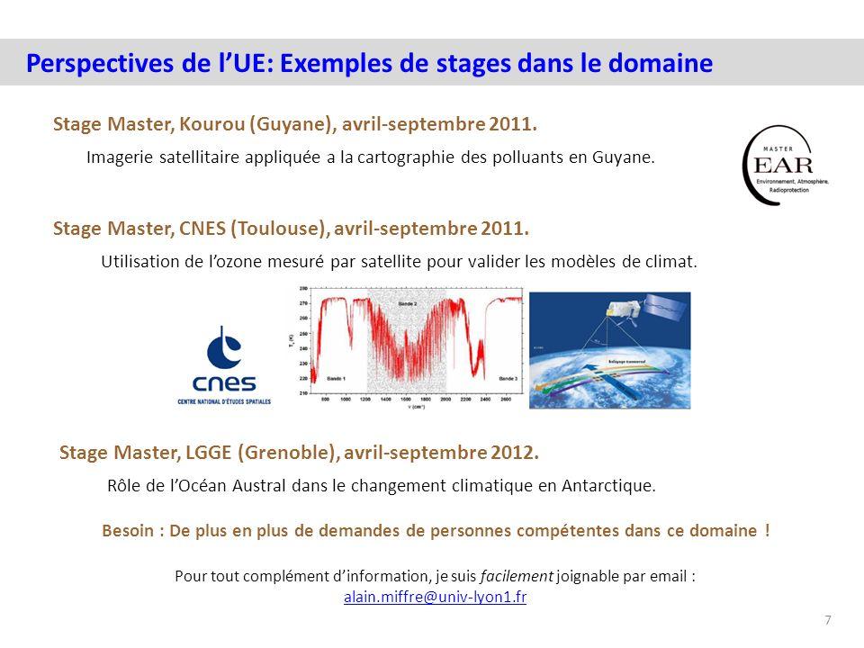 Stage Master, Kourou (Guyane), avril-septembre 2011. 7 Perspectives de lUE: Exemples de stages dans le domaine Stage Master, CNES (Toulouse), avril-se