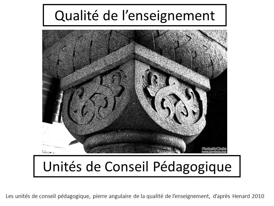 Unités de Conseil Pédagogique Qualité de lenseignement Les unités de conseil pédagogique, pierre angulaire de la qualité de lenseignement, daprès Henard 2010