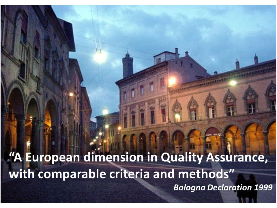 A European dimension in Quality Assurance, with comparable criteria and methods Bologna Declaration 1999
