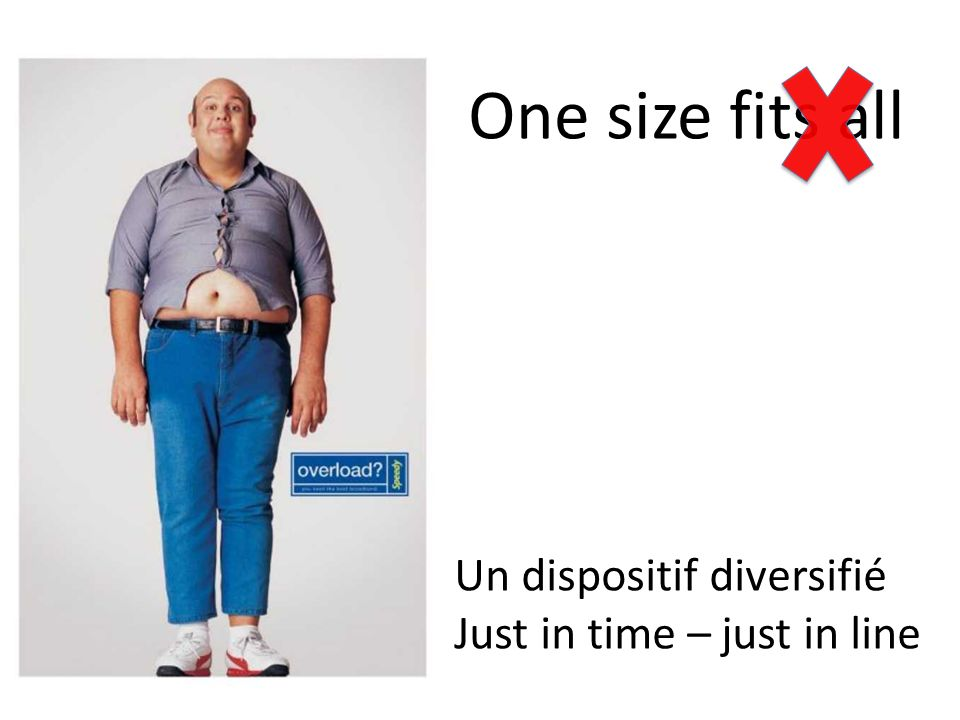 One size fits all Un dispositif diversifié Just in time – just in line
